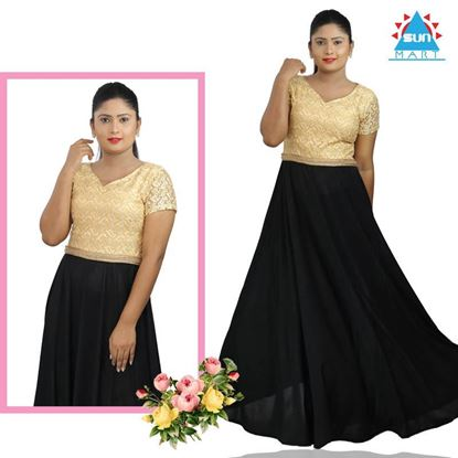 Picture of Gold & Black mixed Maxi party dress