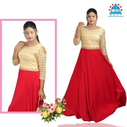 Picture of Red & Gold mixed Long Maxi dress