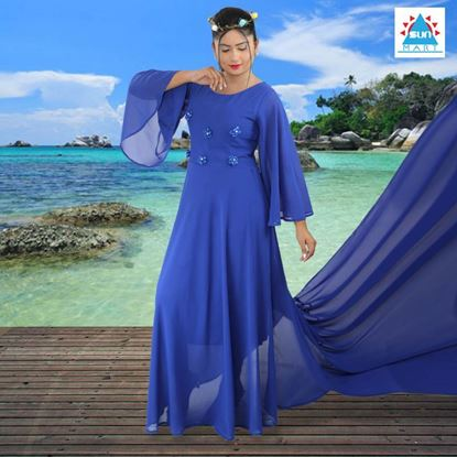 Picture of Bell sleeve hand with long tail preshoot dress