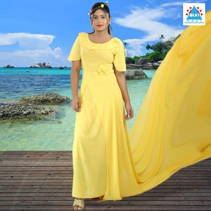 Yellow colour preshoot dress with long tail
