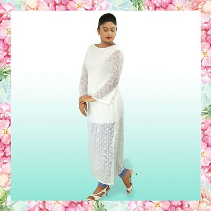 Picture of Long Sleeve Long Kurtha Top with Lace