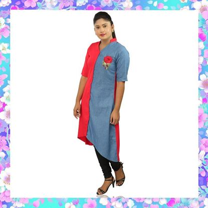 Picture of Asymmetric hemline kurtis two color top with embroidery rose