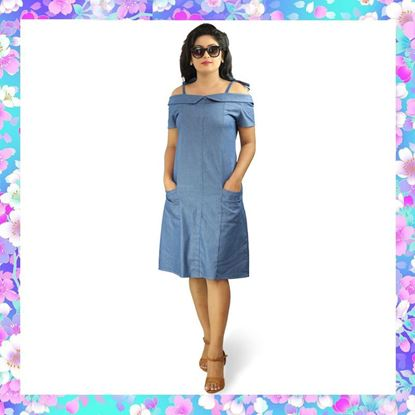 Picture of Off Shoulder Cute Denim Frock