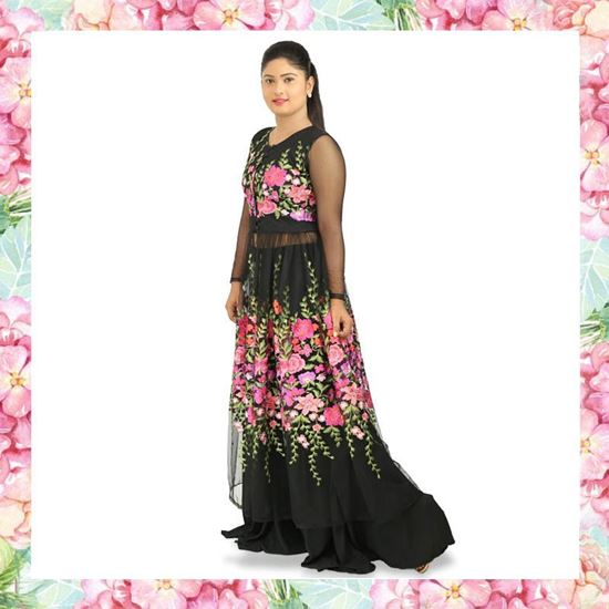 Picture of Long Sleeve Top & Skirt with Embroidery Floral Design