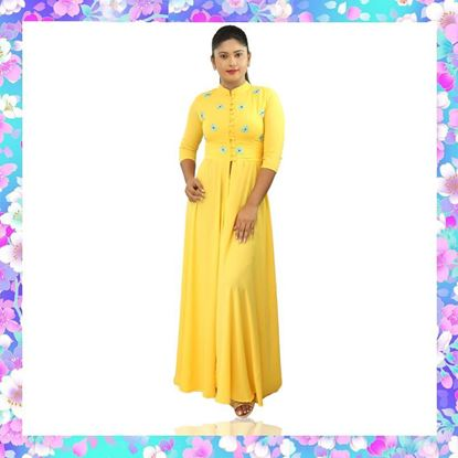 Picture of High necked long kurti top with embroidery flowers