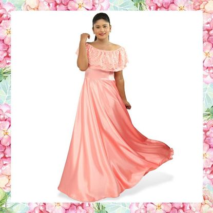 Picture of Crepe Silk Maxi Dress with Lace Frill