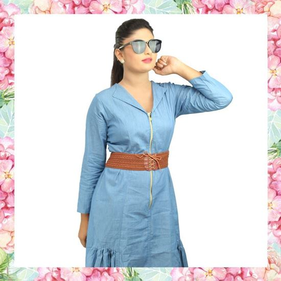 Picture of Chambray fishtail dress with brown belt