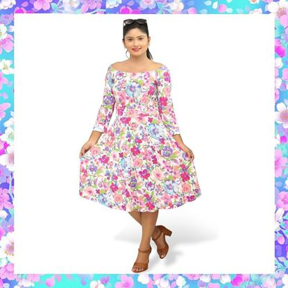 Picture of Floral designed off shoulder short frock