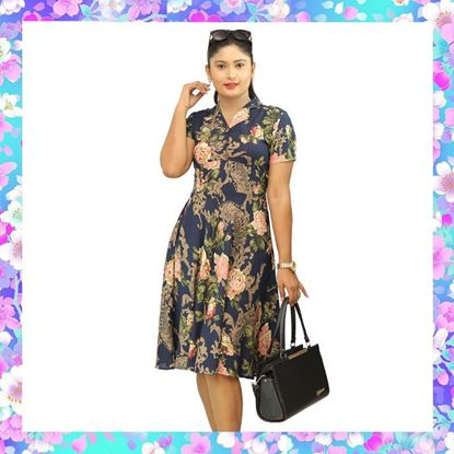 Picture of Floral designed short office frock