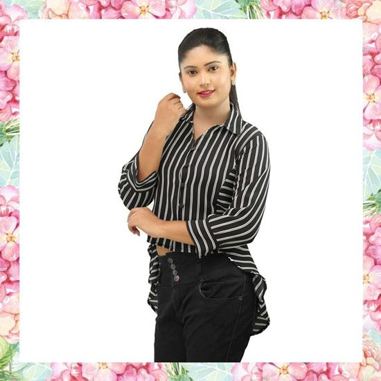 Stripe designed short blouse with long sleeves