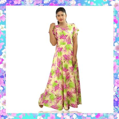 Picture of Maxi frock with leaves & flowers