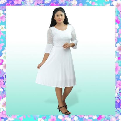 Picture of Bell Sleeve Short Frock with Lace