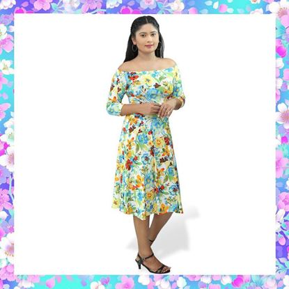Picture of Floral designed off-shoulder short frock