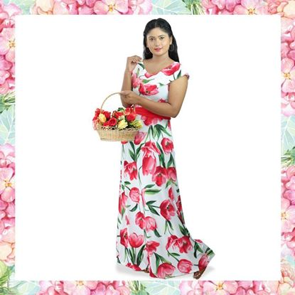 Picture of Short Frilled Floral Maxi Dress