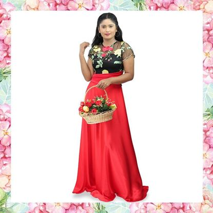 Picture of Crepe Silk Maxi Frock with Embroidery Roses