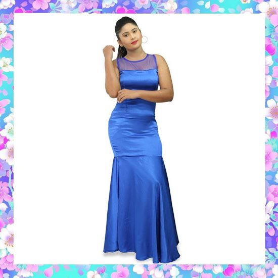 Picture of Crepe Silk Long Party Dress with Fishtail