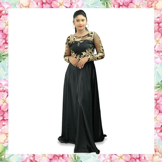 Picture of Crepe Silk Maxi Party Frock with Gold Embroidery Floral Design