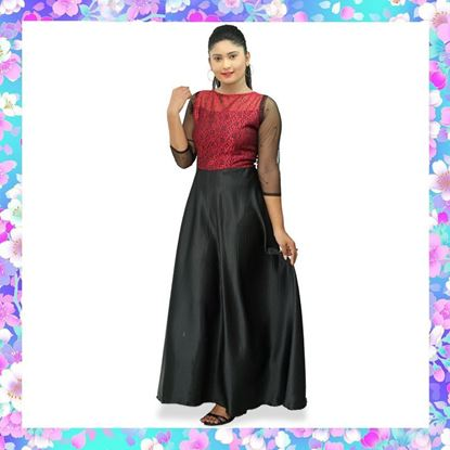 Picture of Boat necked red & black maxi party dress