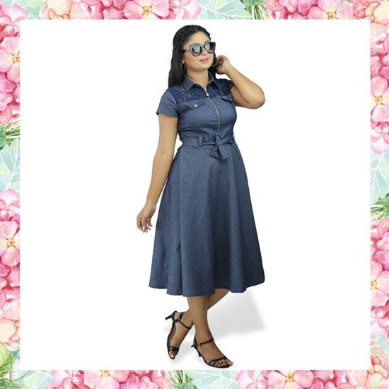 Picture of Chambray Short Frock with Lace