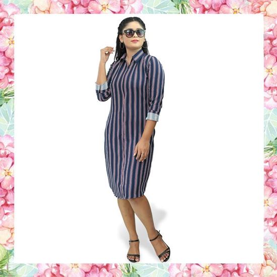 Picture of Stripe Designed Shirt Dress