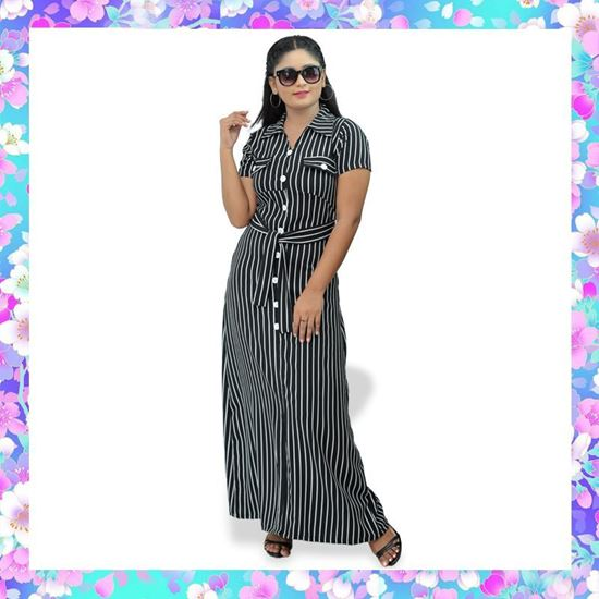 Picture of Stripe designed A-line long frock with belt