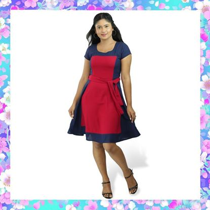 Picture of Red & Blue mixed two color linen frock