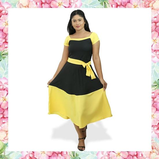 Picture of Black & Yellow mixed two color frock with short sleeve
