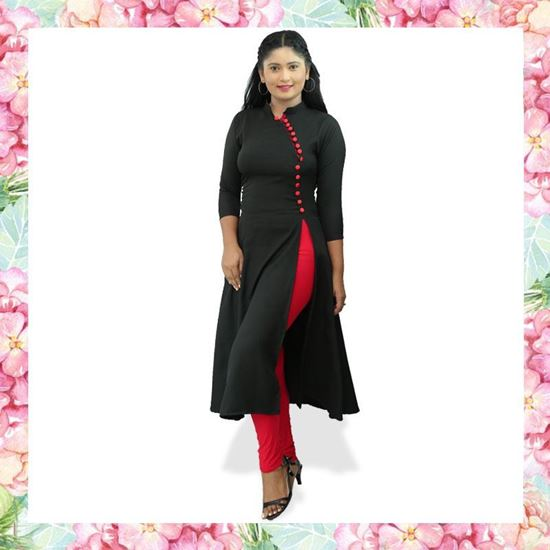 Picture of High necked black color long top with red buttons