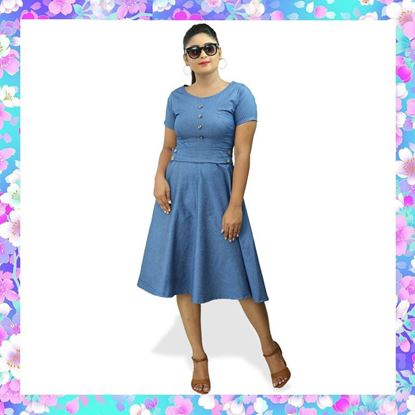 Picture of Chambray short frock with metal buttons