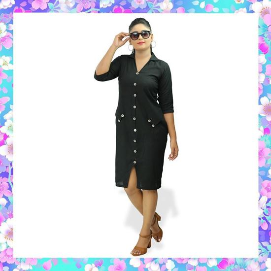 Picture of Black color short  frock with metal button