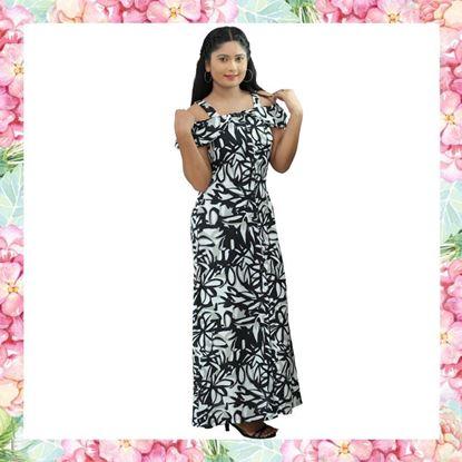 Picture of Black & White color designed off shoulder frilled long frock