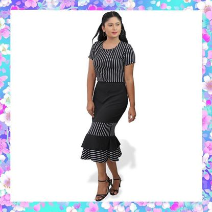 Picture of Stripe designed fitted frock with fishtail