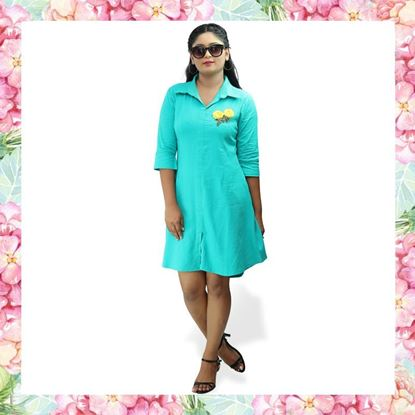 Picture of Linen short shirt dress with yellow color flower