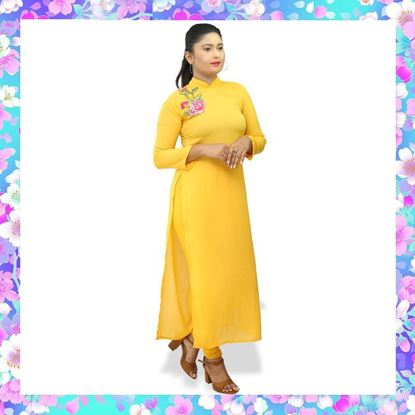 Yellow color georgette long top with embroidery rose flower