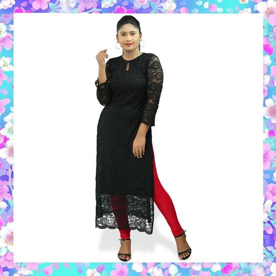 Picture of Black color full lace side open long top