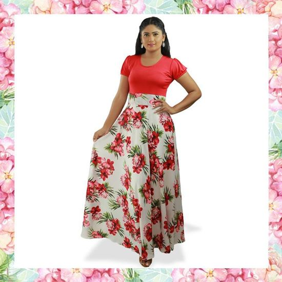 Picture of Red and White mixed flared maxi dress