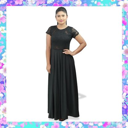 Black lace mixed maxi party frock