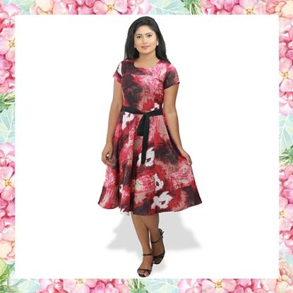 Picture of Short linen frock with printed material