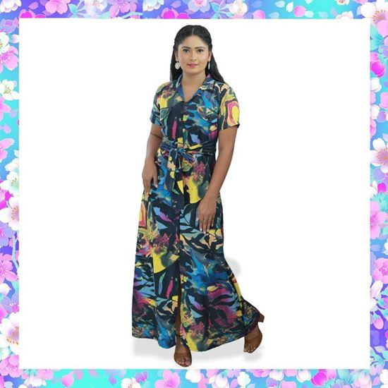 Picture of Printed material long linen frock with belt