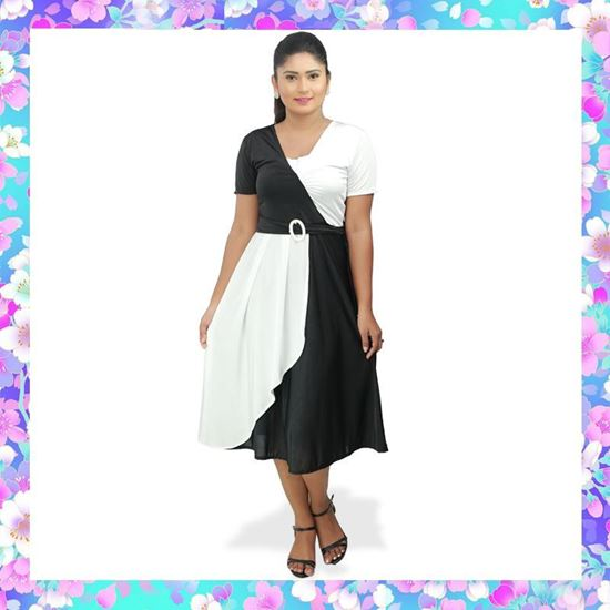 Picture of Two Color Cross Over Two Way Stretch frock