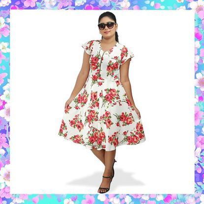 Picture of Floral Designed Short Frock with Zipper