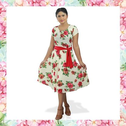 Picture of Floral Designed Short Frock with Red Belt