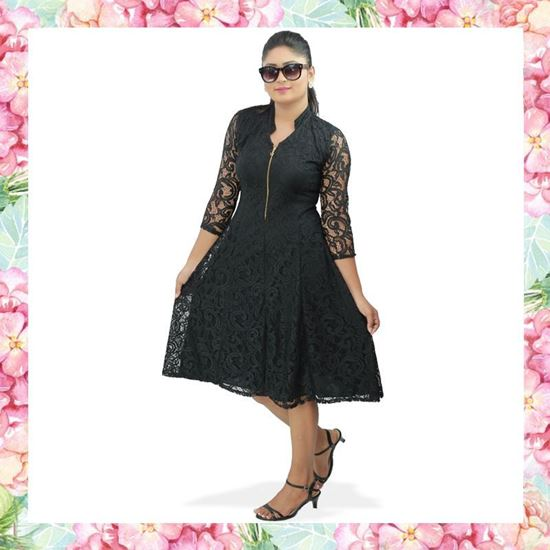 Picture of Chinese Collared Full Lace Princess Line Short Frock