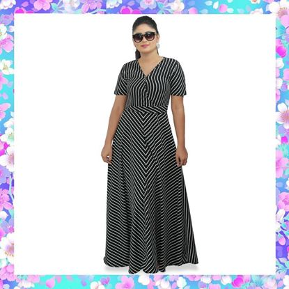 Picture of Striped Designed Cross Over Maxi Dress