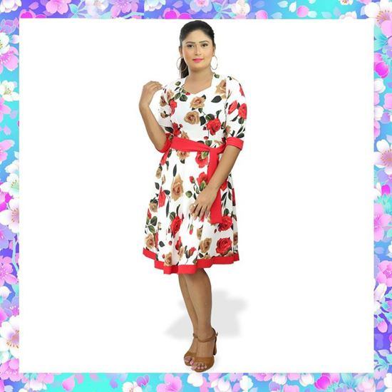 Picture of Floral Designed Red & White Mixed Long Sleeve Frock with Red Piping