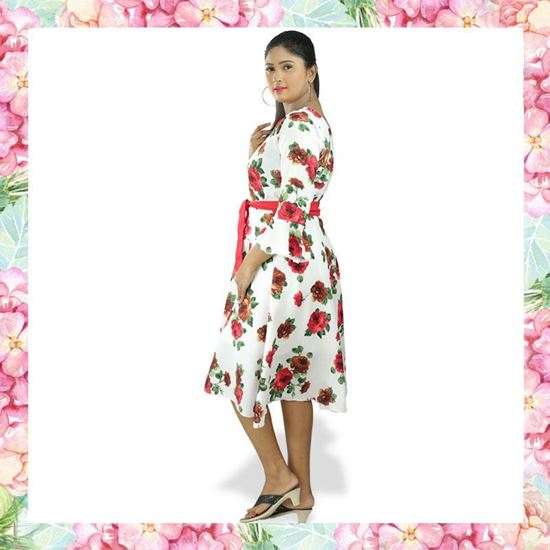 Picture of Floral Designed Red Belted Short Frock with Bell Sleeve