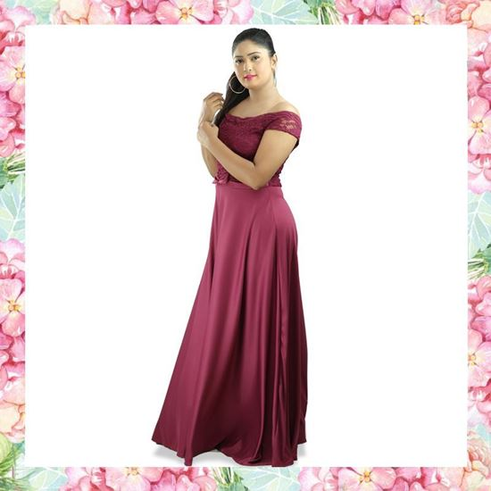 Picture of Off Shoulder Maxi Party Frock with Short Sleeves