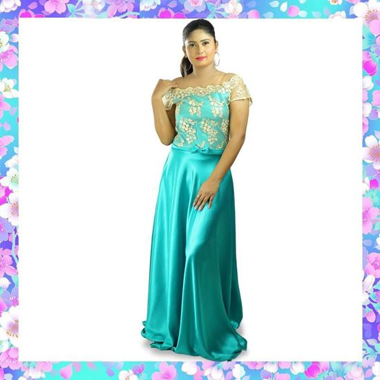 Picture of Off Shoulder Maxi Party frock with Gold Lace