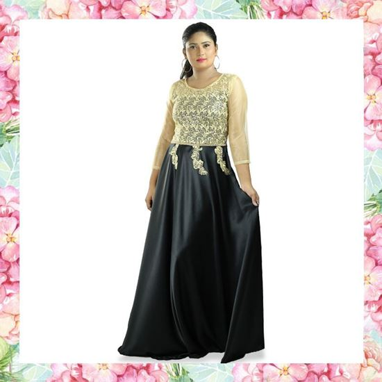 Picture of Gold Lace Designed Maxi Party Frock