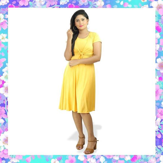 Picture of Two-way Front Knotted Short Frock with Short Sleeves
